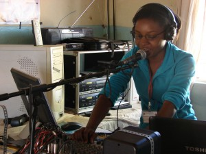 Female radio presenter at Sinazongwe Community Radio